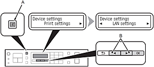 Figure: Use the Menu button to select Device settings, then use the Left or Right arrows to select LAN settings