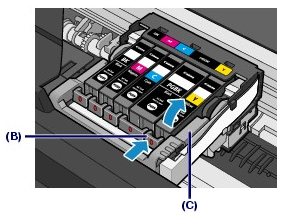 Tab on ink tank (B) shown being lifted up. Warning not to touch print head lock lever (C)