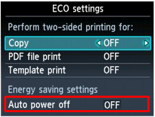 ECO settings screen with Auto power off set to OFF