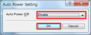 Disable button select from Auto Power Off dropdown, and OK button selected.