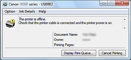 Why does my canon printer say offline