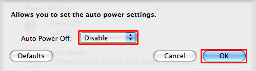 Disable selected from Auto Power Off dropdown