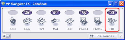 PDF dialog box selected on far right of one-select menu