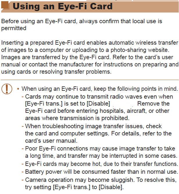 Canon Knowledge Base Using An Eye Fi Card