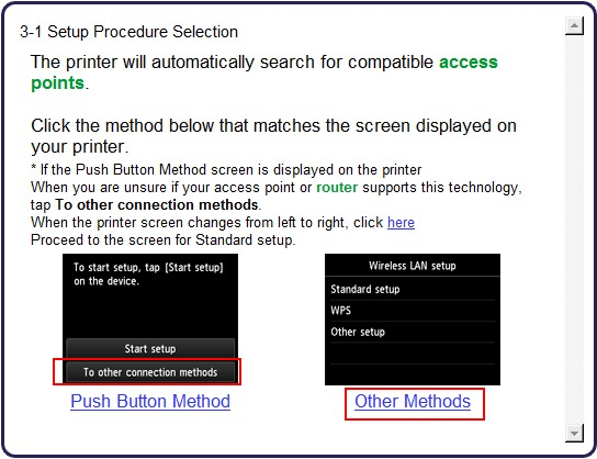 Screen 3-1 Setup Procedure Selection Screen shows Other Methods selected
