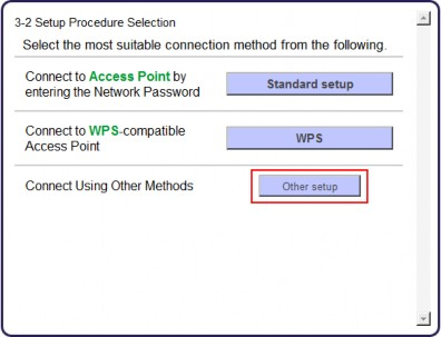 Setup Procedure Selection screen (3-2) with Other setup shown selected.