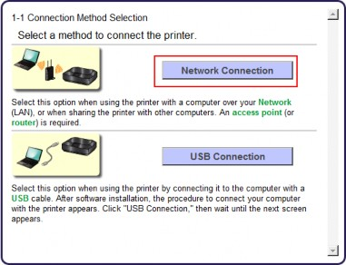Screen 1-1 shows Network Connection button selected