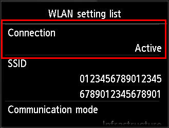 Image of Wireless LAN setting list screen with Active selected.