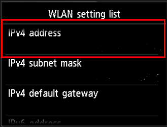 Image of Wireless LAN setting list screen with IPv4 address blank.