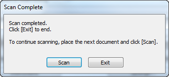 Scan Complete dialog box