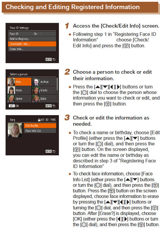 Canon Knowledge Base - Checking and Editing Face ID