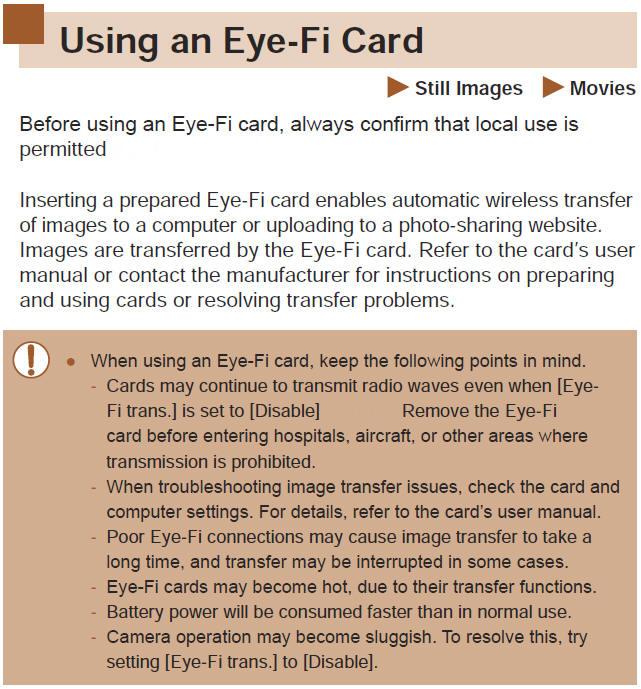 Canon Knowledge Base Using Eye Fi Card