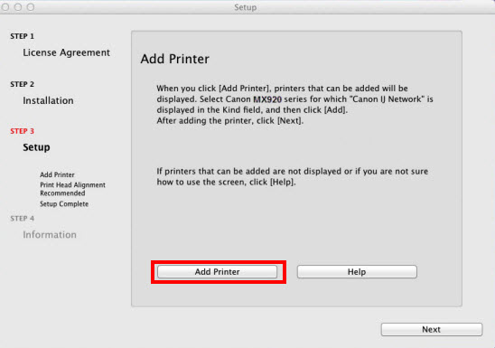 Add printer window