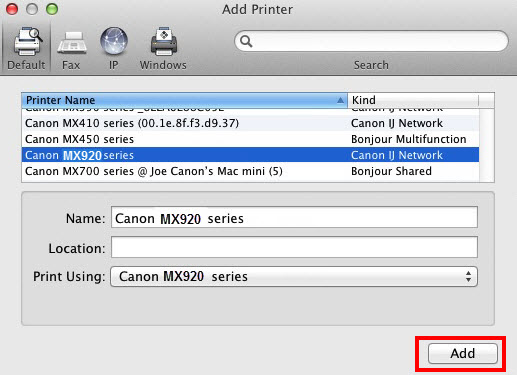 MX920 selected under printer name