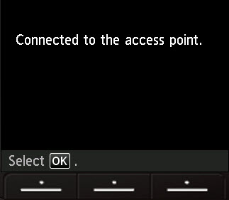 LCD screen shot showing 'Connected to the access point'